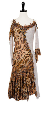 A photo of our animal print ballroom dress, Wild Kingdom. An exotic Rhythm Latin dress by Designs to Shine!