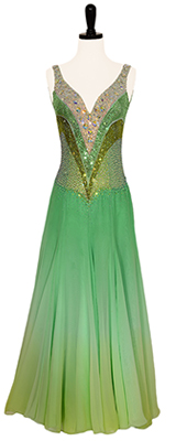This is a photo of our Smooth ballroom costume, Cool as a Cucumber. The perfect combination of ombré and glittering green Swarovski crystals!