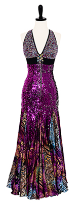 This is a photo of our Doré Smooth ballroom dress, Ooh La La. A dress that shines so brightly, it will have you saying, ooh la la!