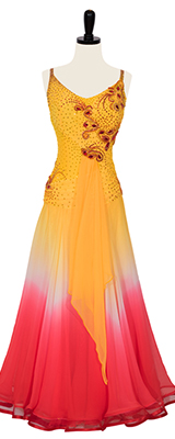A photo of our rental Smooth Standard dress, Cherry Mimosa. An ombré ballroom dress is vivacious yellow and cherry red.