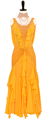 This is a photo of our Dee's Creation Ballroom Gown, Sunshine Coast. A Sunshine yellow Smooth Standard dress that is also a rental!