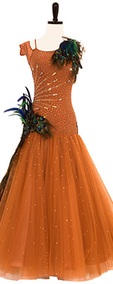 Jordy Smooth Standard Dress, Birds of a Feather. A tan ballroom dress with crystals and ostrich feathers.