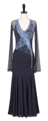 This is a photo of our navy blue Smooth ballroom gown, Moonbeam. A gorgeous dress with glowing embellishments!