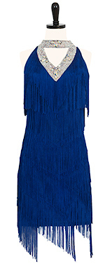 This is a photo of our rental Rhythm Latin dress, Deja Blue. A fringe-tastic ballroom dress!