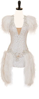 This is a photo of our Randall Designs Rhythm Latin dress. It is all white with fun flirty feathers!