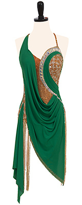 This is a photo of our dress Celtic Brass. A beautifully draped green and nude dress by Designs to Shine.