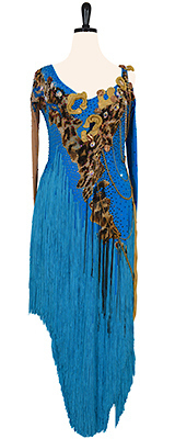 A photo of our Dress4Dance ballroom dress, Chain in Command. A blue Rhythm Latin dress with Swarovski crystals, leopard print, fringe, and chains!