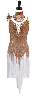 This is a photo of our Rhythm Latin Artistry in Motion dress, Wild Turkey. A fabulous and flirty nude dress with white fringe!