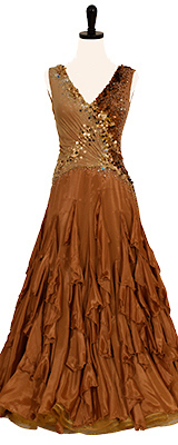 This is a photo of our Smooth Standard gown, Cappuccino Royale. A luxurious ballroom dress in shades of gold and brown.