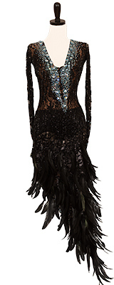 A photo of our Elle Dance Studio dress, Blue Thunder. A black dress with a flirty lace bodice and feather skirt!