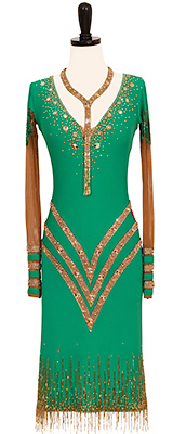 This is a photo of our Rhythm Latin ballroom gown, Top Brass. A gorgeous green ballroom dress with nude accents and Swarovski crystals!
