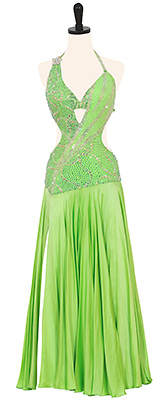 This is a photo of our Donna Inc Smooth dress, Lime Da Boss. A lime green dress with plenty of bling and sass!