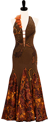 This is a photo of our brown Smooth ballroom dress, Autumn Splendor. A gorgeous dress with a gorgeous print skirt to match!