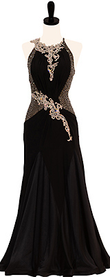 This is a photo of our black rental ballroom dress, Jet Setter! A dress that is fit for both ballroom and the red carpet!