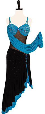 A photo of our blue and black ballroom dress, Jezebelle. A Rhythm Latin dress with a corset tie back!