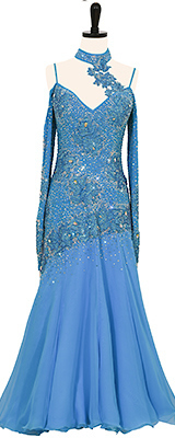 This is a photo of our Smooth ballroom dress, Agua Azul. A gorgeous blue dress that is both for purchase and rent!