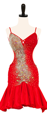 A photo of our Rhythm Latin ballroom dress in red with Swarovski stones and a flounce skirt.