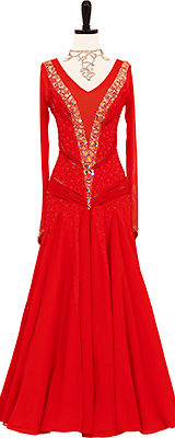 This is a photo of our Dress for Dance ballroom gown, Fireside. A dress named after its brilliant fire-red color.