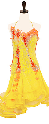This is a photo of our yellow Rhythm Latin dress, Jonquil. A bright yellow dress full of warmth and radiance!