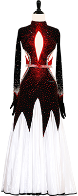 This is a photo of our Victoria Blitz ballroom dress, Devine Deville. A classic dress in white, red, and black!
