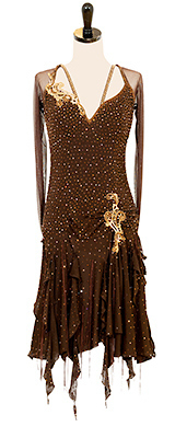 This is a photo of our Rhythm Latin dance costume, Hershey. An all brown dress with Swarovski crystals, long sleeves, and a strappy back.