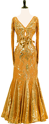 This is a photo of our Smooth ballroom dress Midas Touch. It is covered in gold from head to toe!