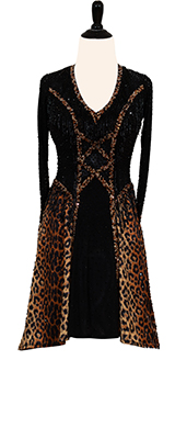 This is a photo of our black and leopard print Rhythm Latin ballroom dress designed by Dore.