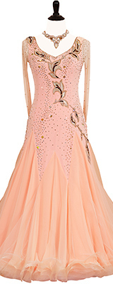 This is a photo of our Alisa Mandel Standard dress, Peach Blossom Special. A dress that will sweep you off your feet!