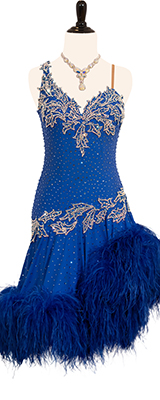 This is a photo of our Rhythm Latin Randall Designs dress, Azure. A dress named after its spectacular color!