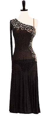 This is a photo of our black Rhythm Latin ballroom dress, Girl's Night Out. A dress that is both a Rental and Purchase dress, ready to accompany you on the perfect ballroom night out!