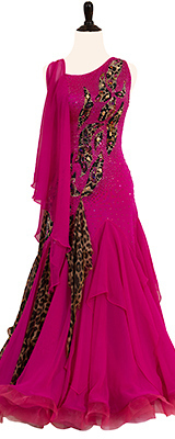This is a photo of our animal print ballroom gown, Hot Pink Panther. A dress that is stunningly purr-fect!