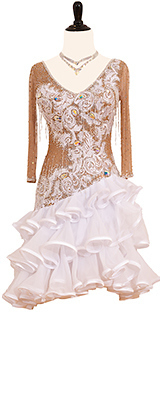 This is a photo of our Rhythm Latin dance dress, White Storm. A dress that is sure to take the dance floor by storm!